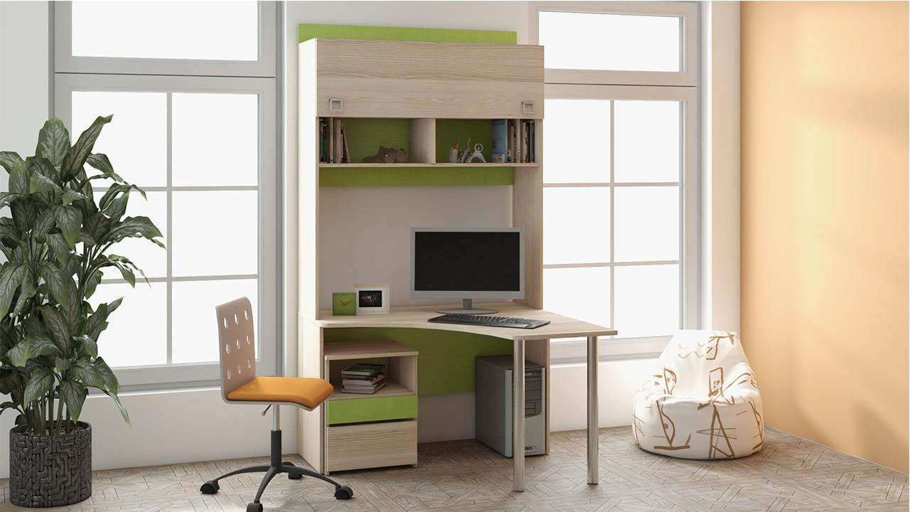 Угловые письменные столы с надстройкой - мебельная компания .