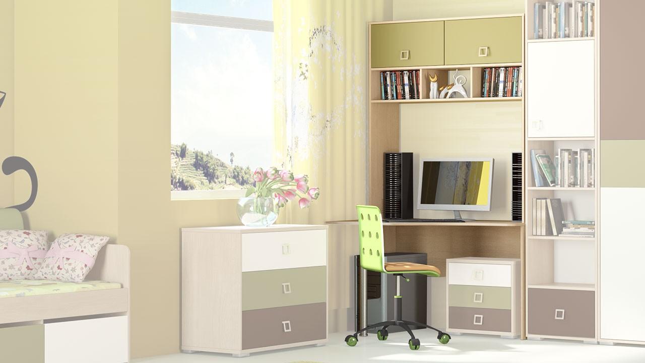 """Детский письменный угловой стол с надстройкой """"тетрис"""" 6 гн-."""