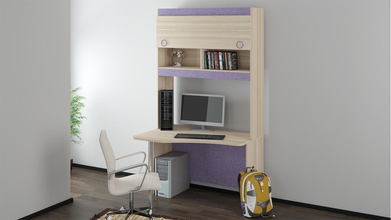 Детский письменный угловой стол с надстройкой 11 индиго (сос.